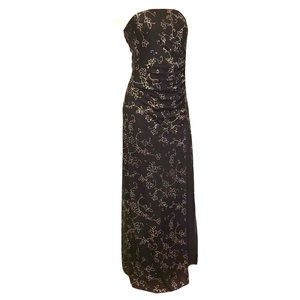 Strapless Long Dress Black Silver Sparkly Accents